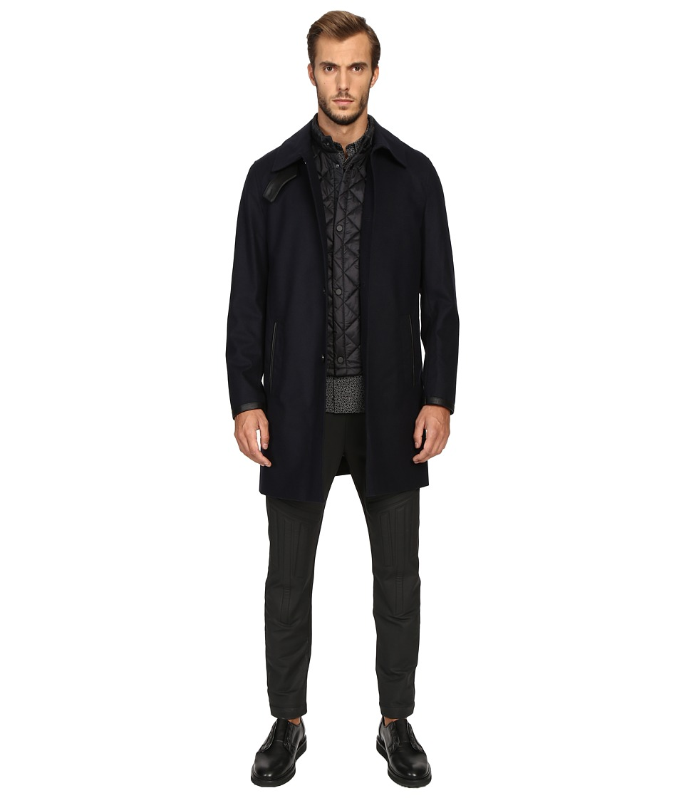 The Kooples - Flannel Trenchcoat w/ Removable Waistcoat (Navy) Men's Coat