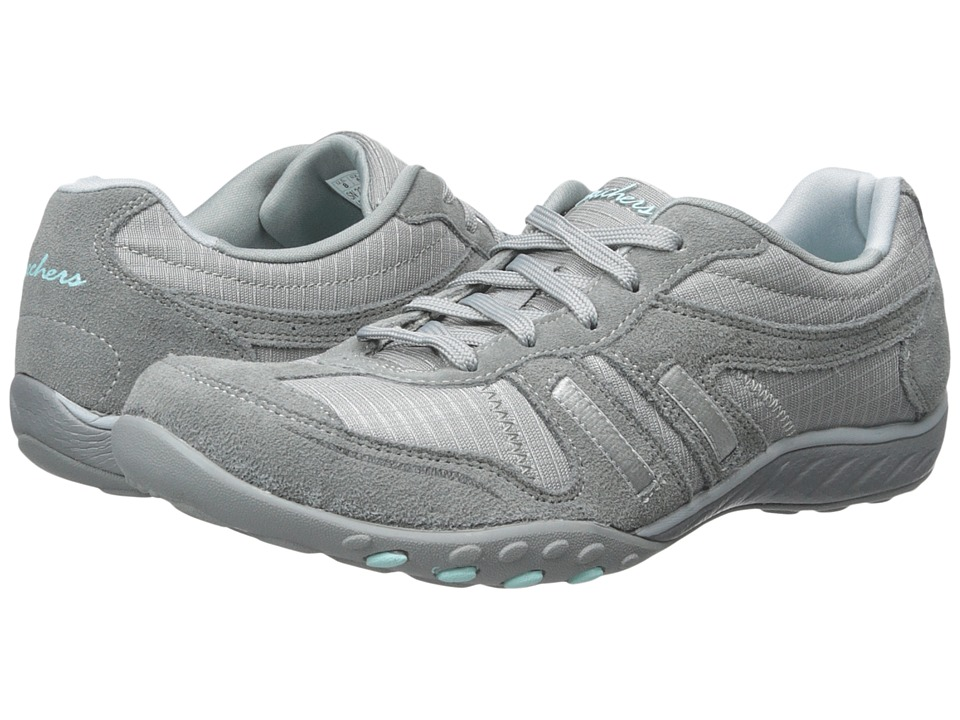 SKECHERS - Breathe Easy - Jackpot (Gray) Women's Lace up casual Shoes