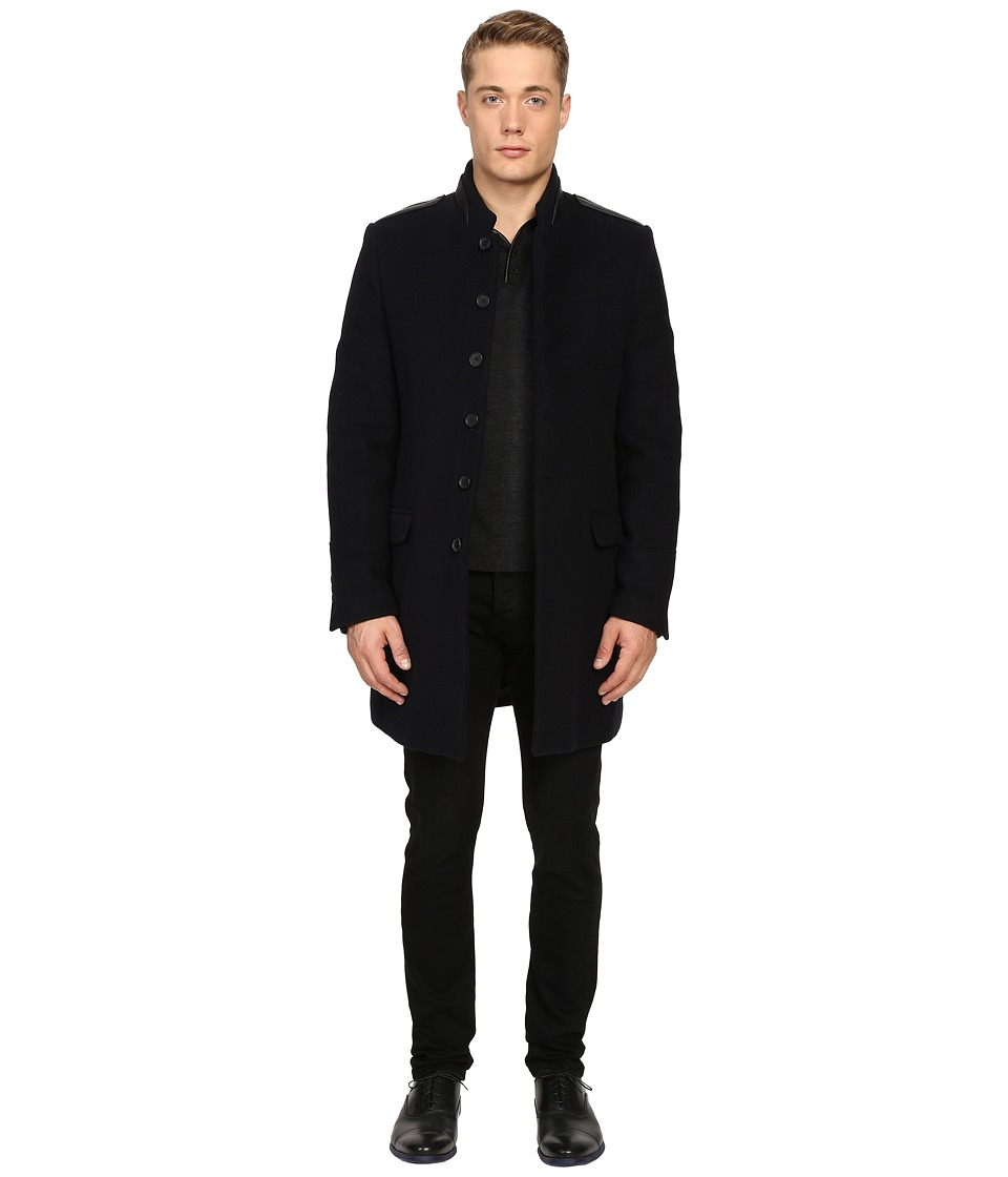 The Kooples - Buttoned Officer Coat (Navy) Men's Coat