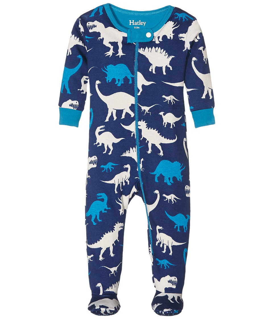 Hatley Kids - Silhouette Dinos Footed Coverall (Infant) (Blue) Boy's Overalls One Piece