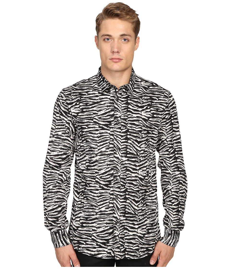 Just Cavalli - Slim Fit Zebra Vibe Print Shirt (Black Variant) Men's Clothing