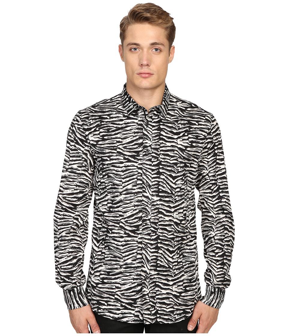 Just Cavalli Slim Fit Zebra Vibe Print Shirt (Black Variant) Men