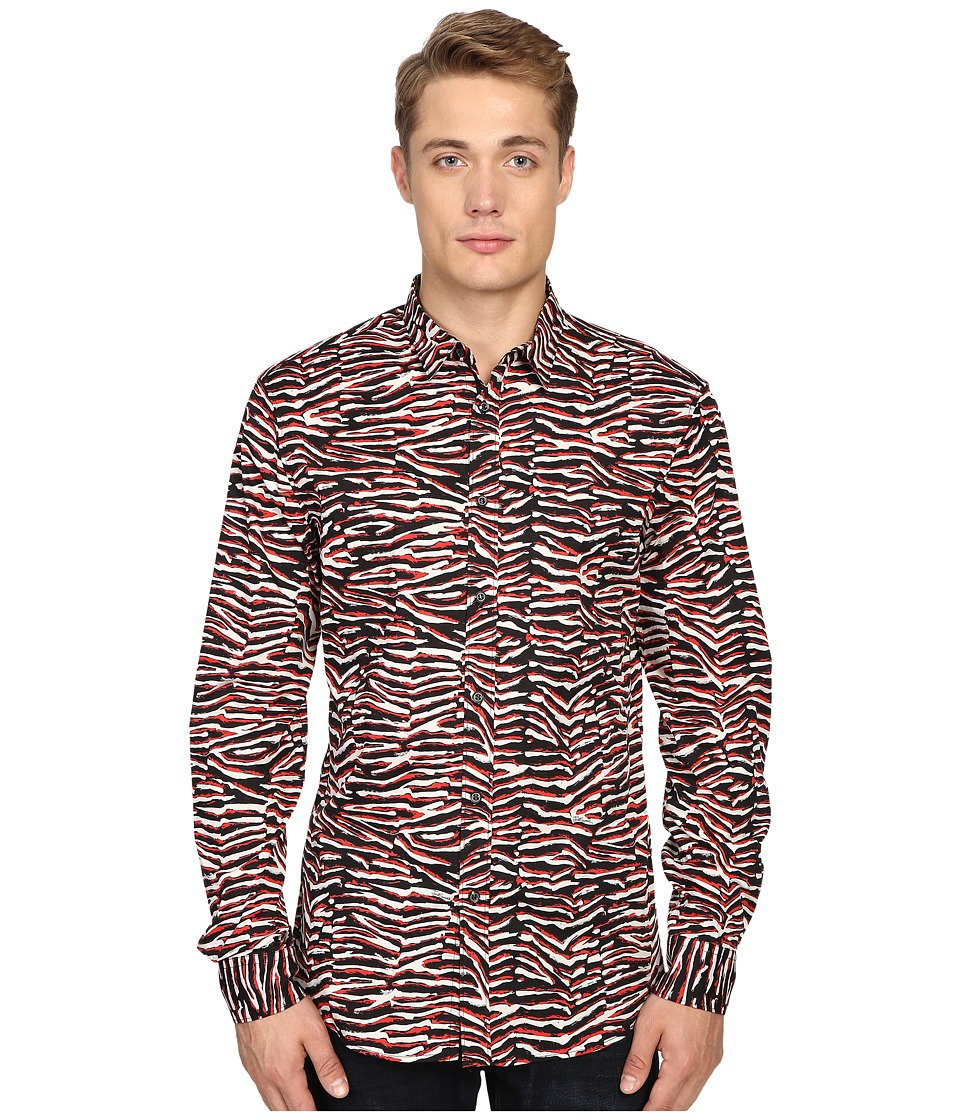 Just Cavalli - Slim Fit Swallow Print Shirt (True Red Variant) Men's Clothing