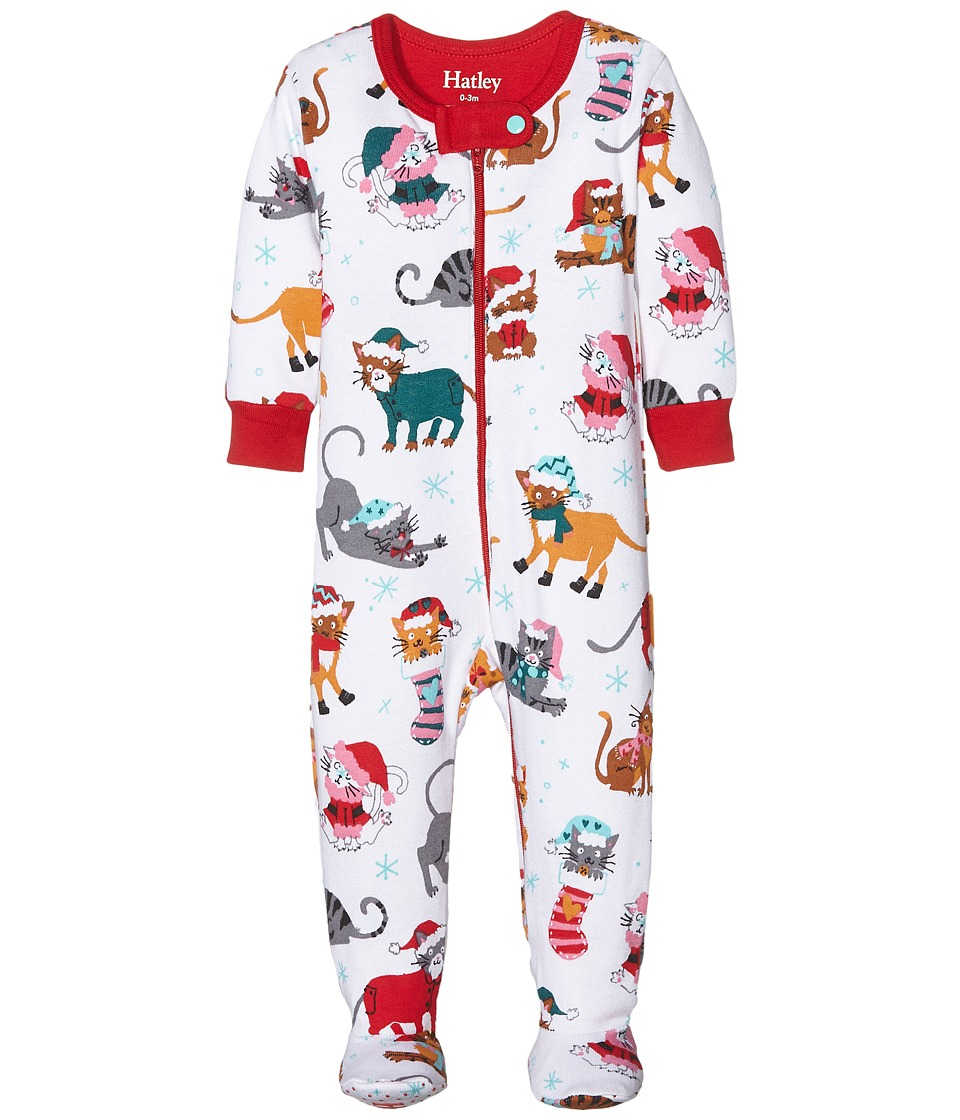 Hatley Kids - Holiday Cats Footed Coverall (Infant) (White) Girl's Overalls One Piece