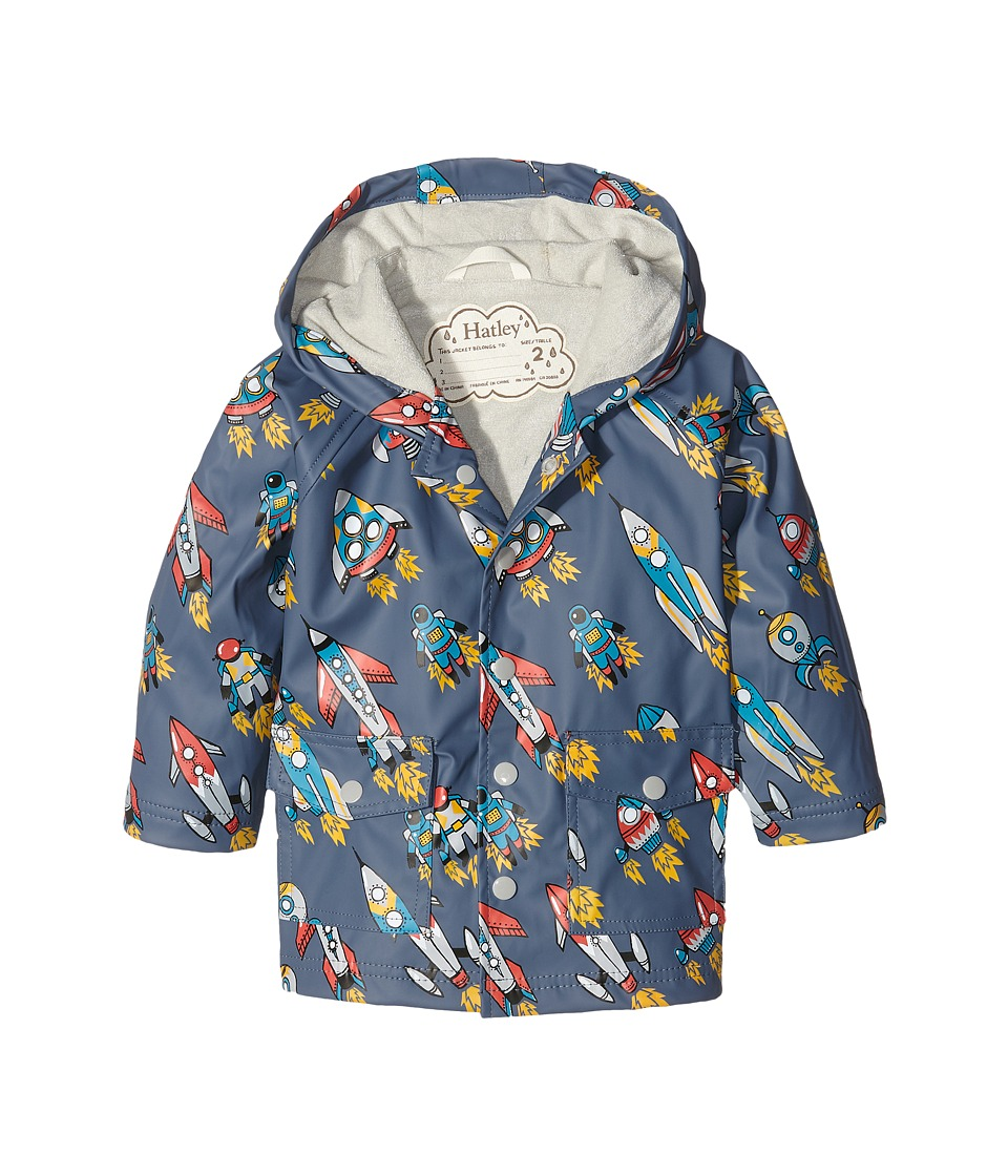 Hatley Kids - Retro Rockets Raincoat (Toddler/Little Kids/Big Kids) (Grey) Boy's Coat