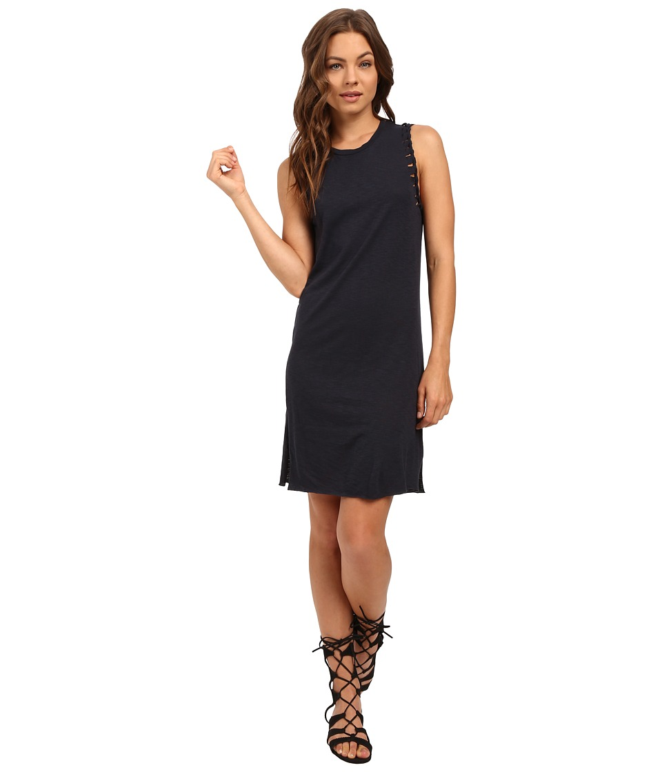 Culture Phit - Nadia Laser Cut Tank Dress with Twist (Navy) Women's Dress
