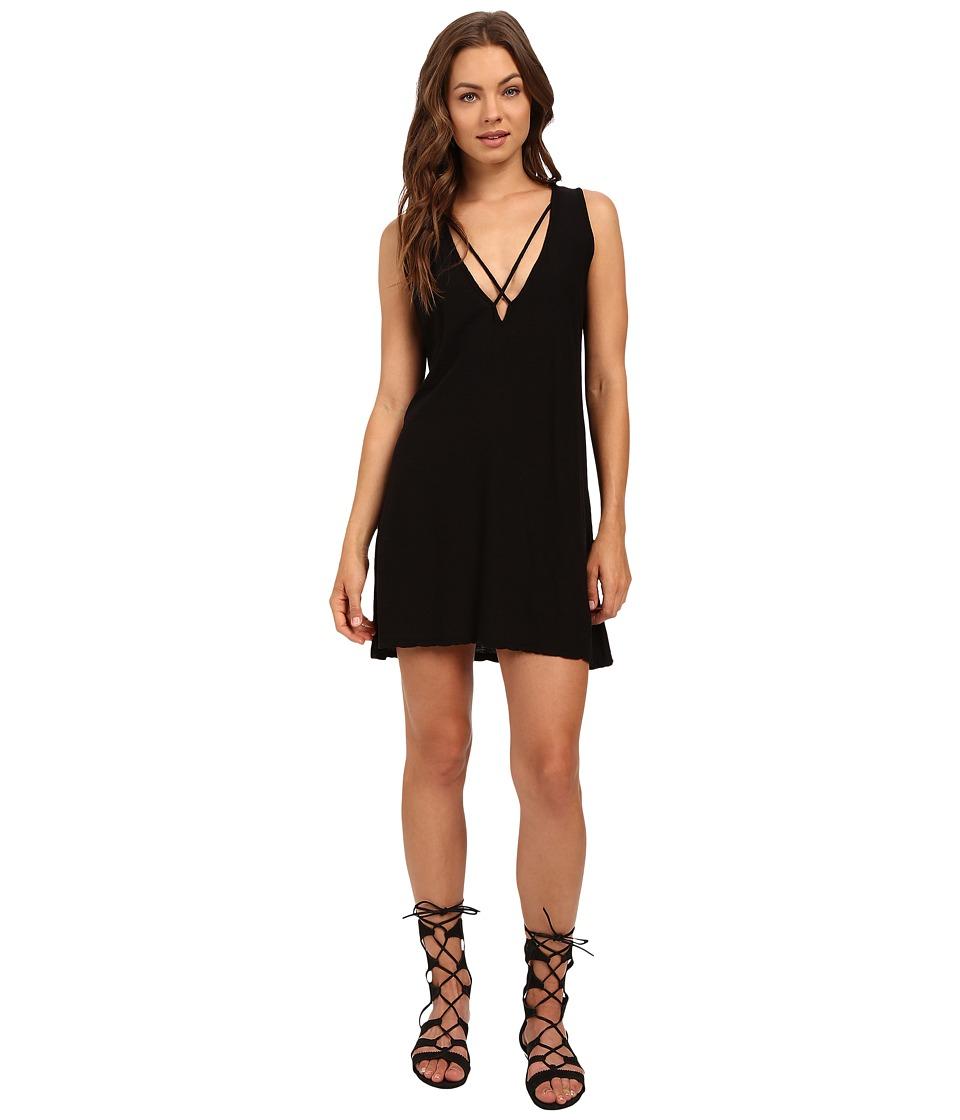 Culture Phit - Palma V-Neck Cross-Strap Tank Dress (Black) Women's Dress
