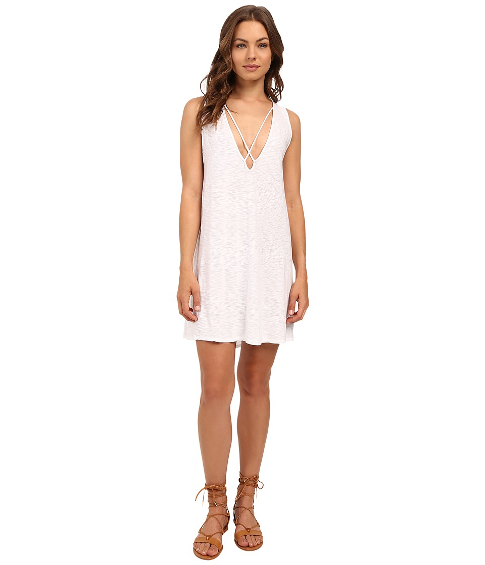 Culture Phit - Palma V-Neck Cross-Strap Tank Dress (White) Women's Dress