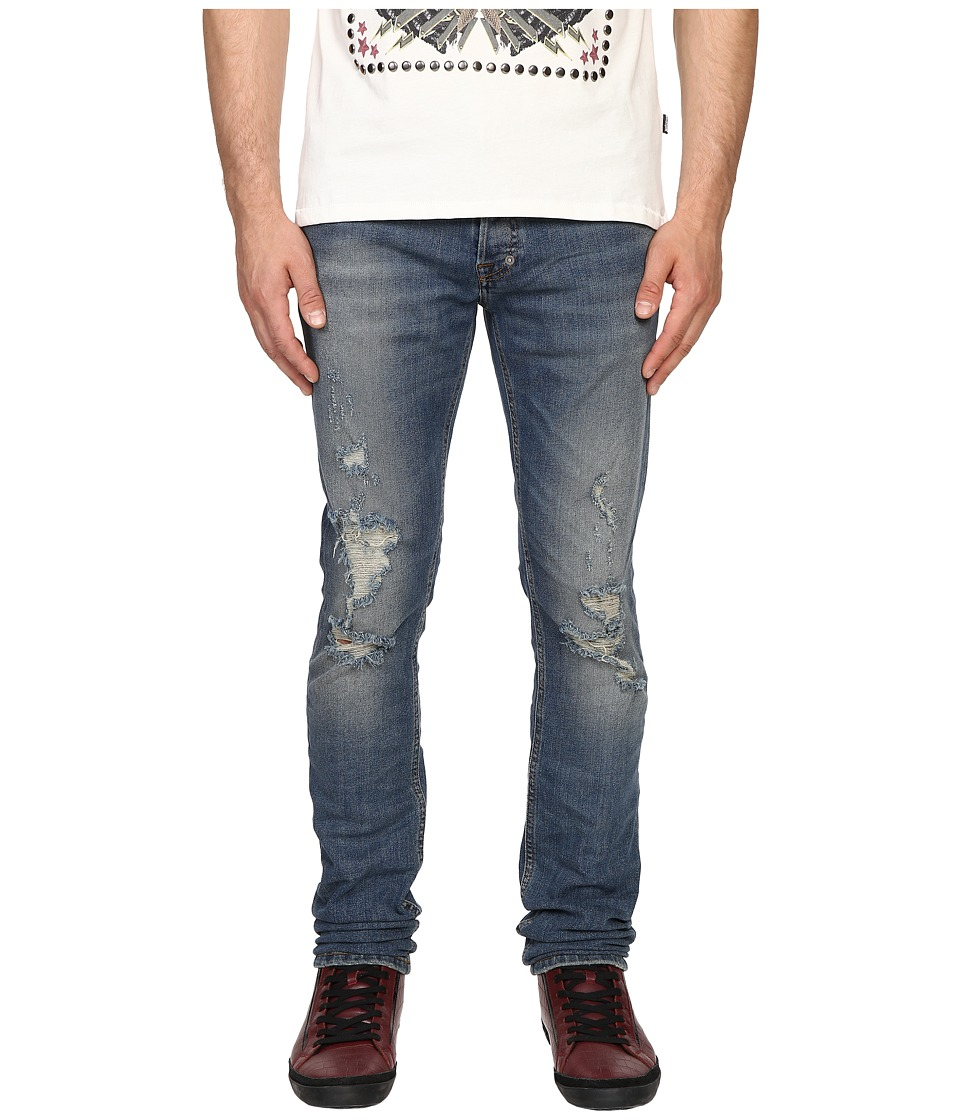 Just Cavalli - Essential Distressed Five-Pocket Denim (Blue Denim) Men's Jeans