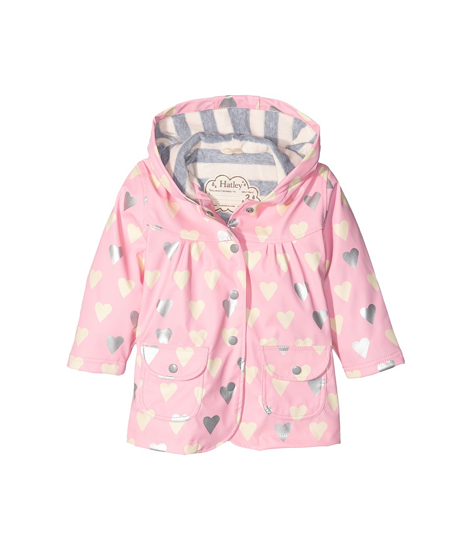 Hatley Kids - Metallic Hearts Raincoat (Toddler/Little Kids/Big Kids) (Pink) Girl's Coat