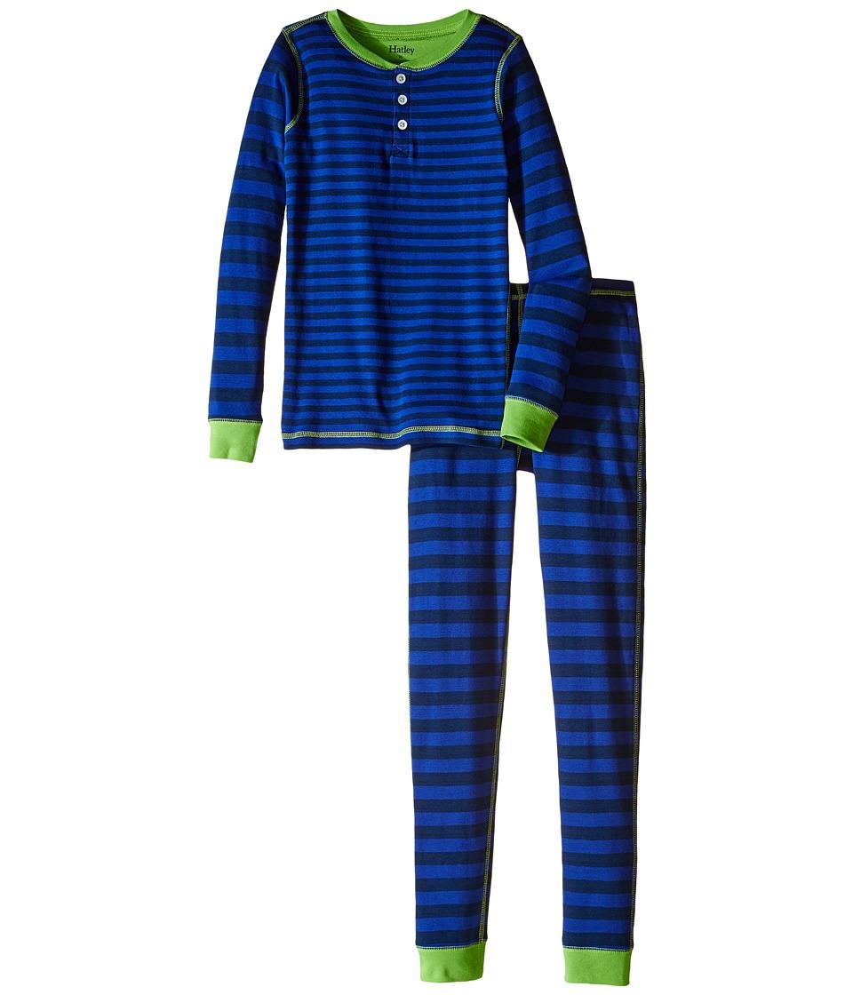 Hatley Kids - Lime Blue Stripe Henley Pajama (Toddler/Little Kids/Big Kids) (Blue) Boy's Pajama Sets