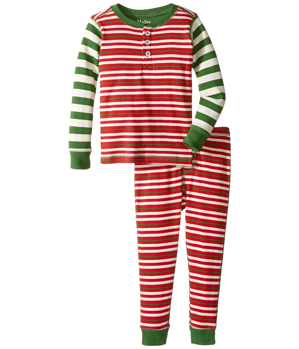 Hatley Kids - Holiday Stripe Henley Pajama (Toddler/Little Kids/Big Kids) (Red) Boy's Pajama Sets