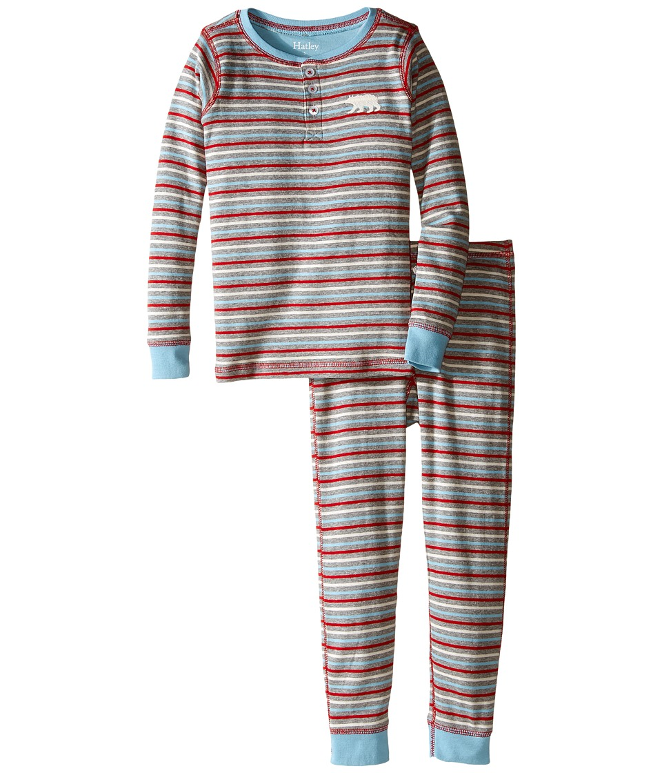 Hatley Kids - Icy Stripes Henley Pajama (Toddler/Little Kids/Big Kids) (Grey) Boy's Pajama Sets