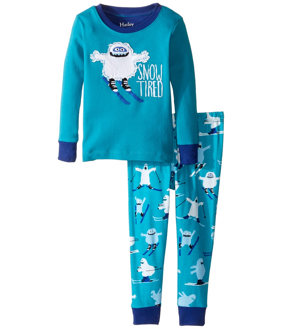Hatley Kids - Ski Monsters Snow Tired Pajama Set (Toddler/Little Kids/Big Kids) (Blue) Boy's Pajama Sets