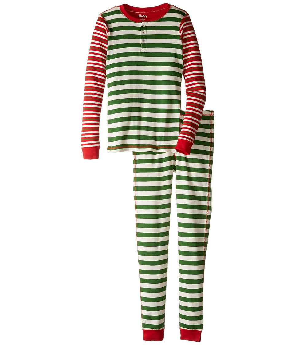 Hatley Kids - Holiday Stripe Henley Pajama (Toddler/Little Kids/Big Kids) (Green) Boy's Pajama Sets