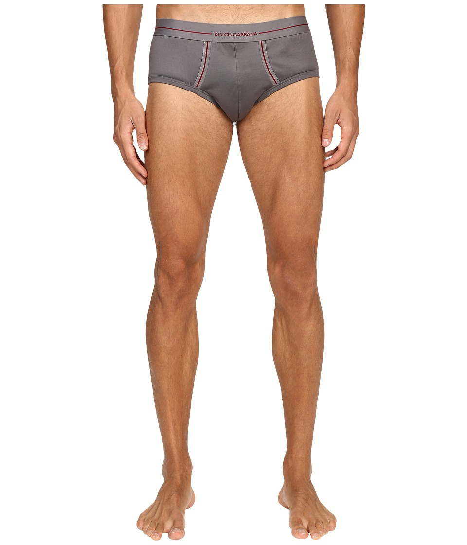 Dolce & Gabbana - Knitted Cotton Brando Brief (Grey) Men's Underwear