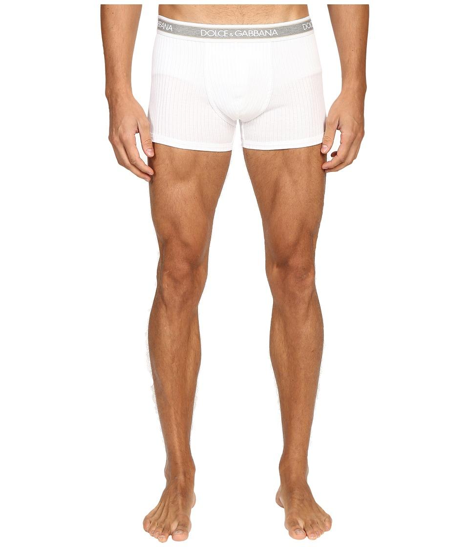 Dolce & Gabbana - Ribbed Cotton Regular Boxer (White) Men's Underwear