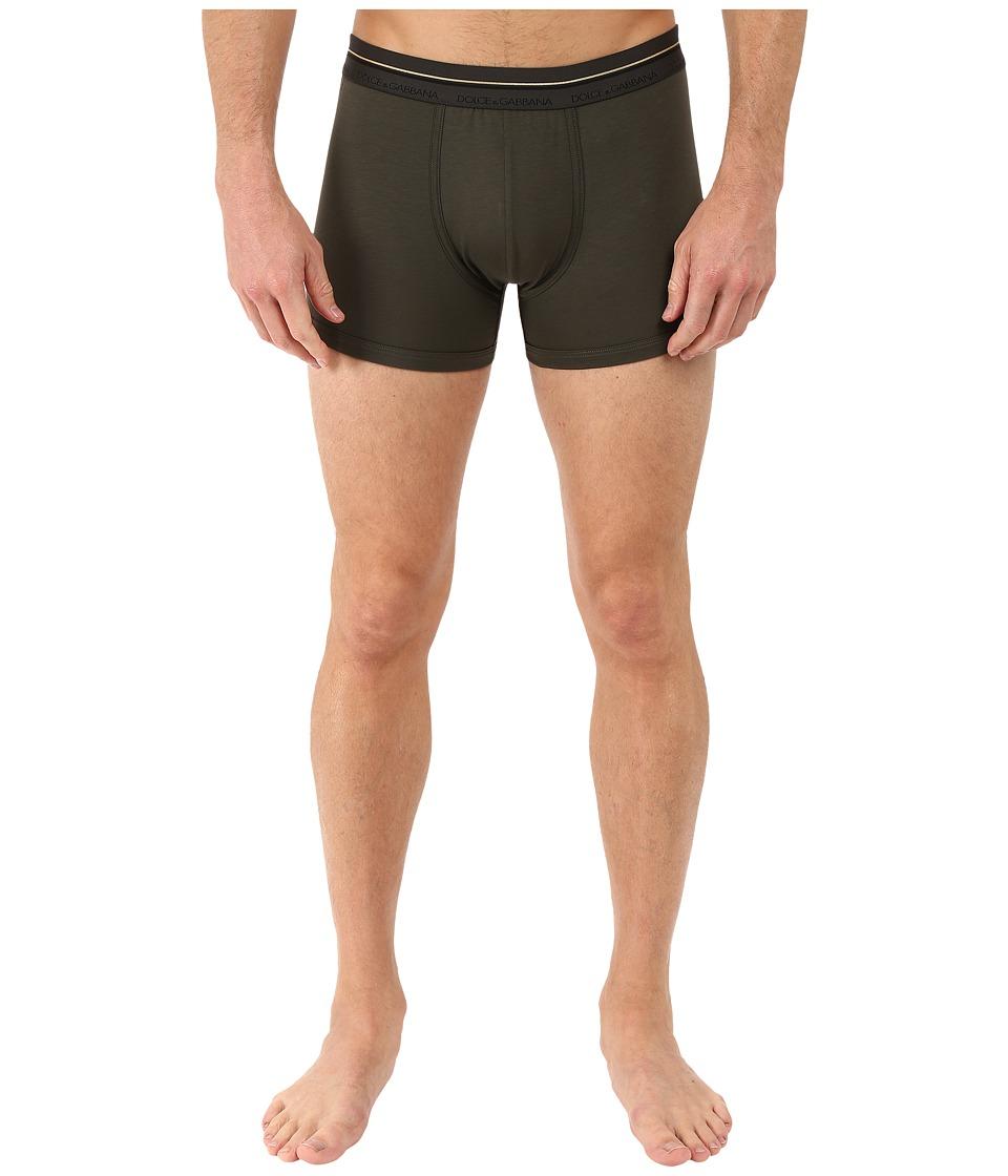 Dolce & Gabbana - Stretch Cotton Mako' Regular Boxer (Military Green) Men's Underwear