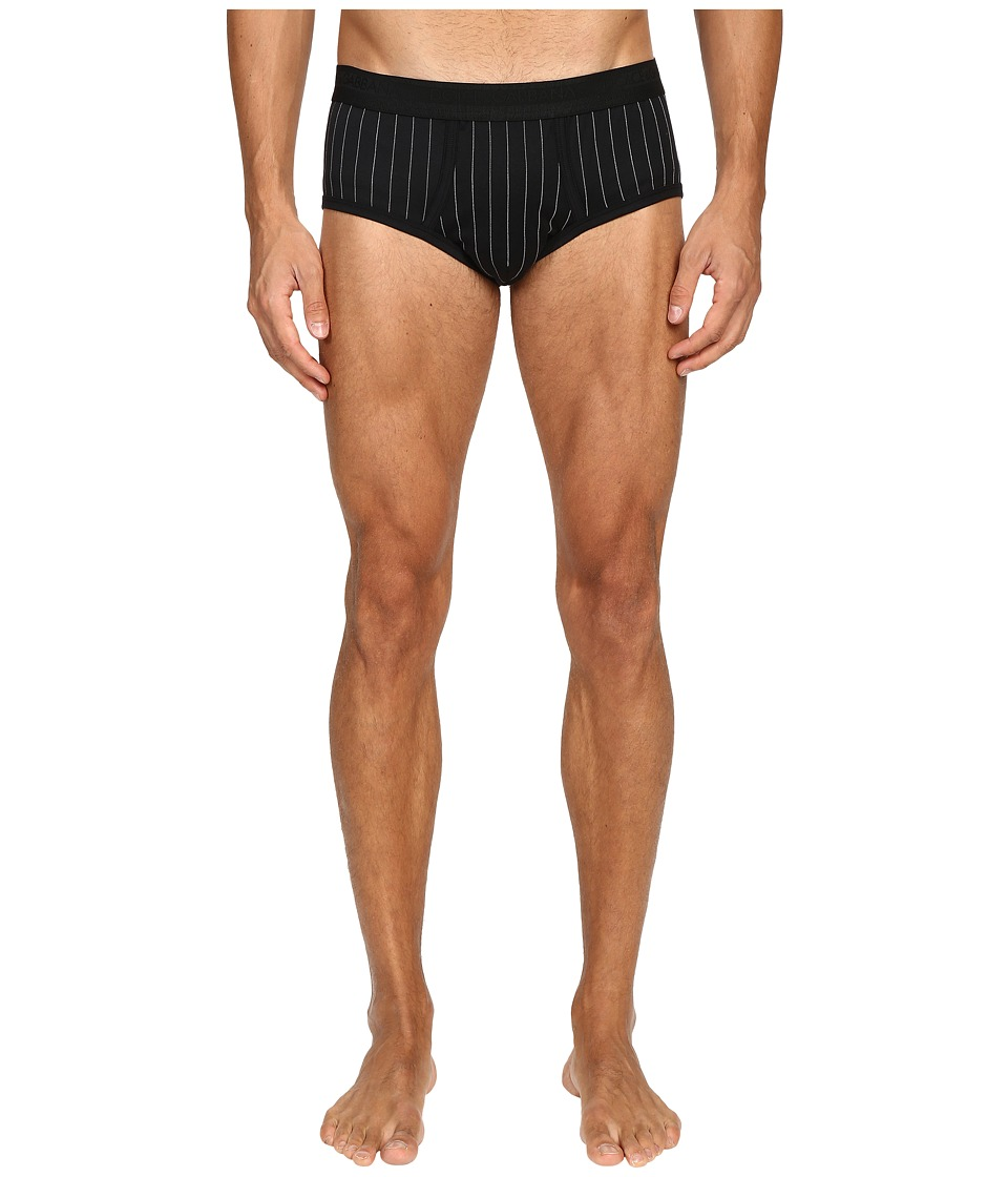Dolce & Gabbana - Lisle Yarn Scottish Fibres Pinstripes Brando Brief (Black) Men's Underwear