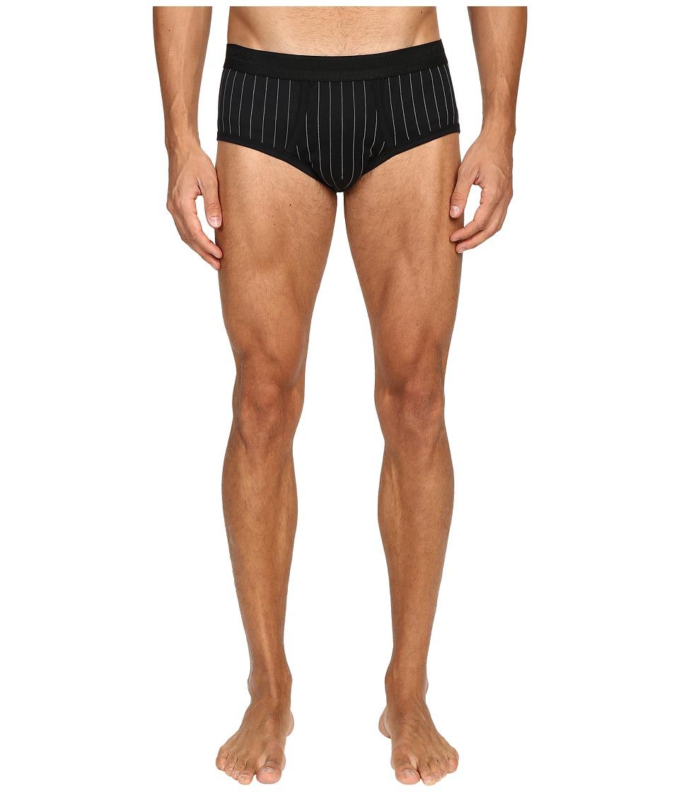 Dolce & Gabbana - Lisle Yarn Scottish Fibres Pinstripes Brando Brief (Black) Men's Underwear