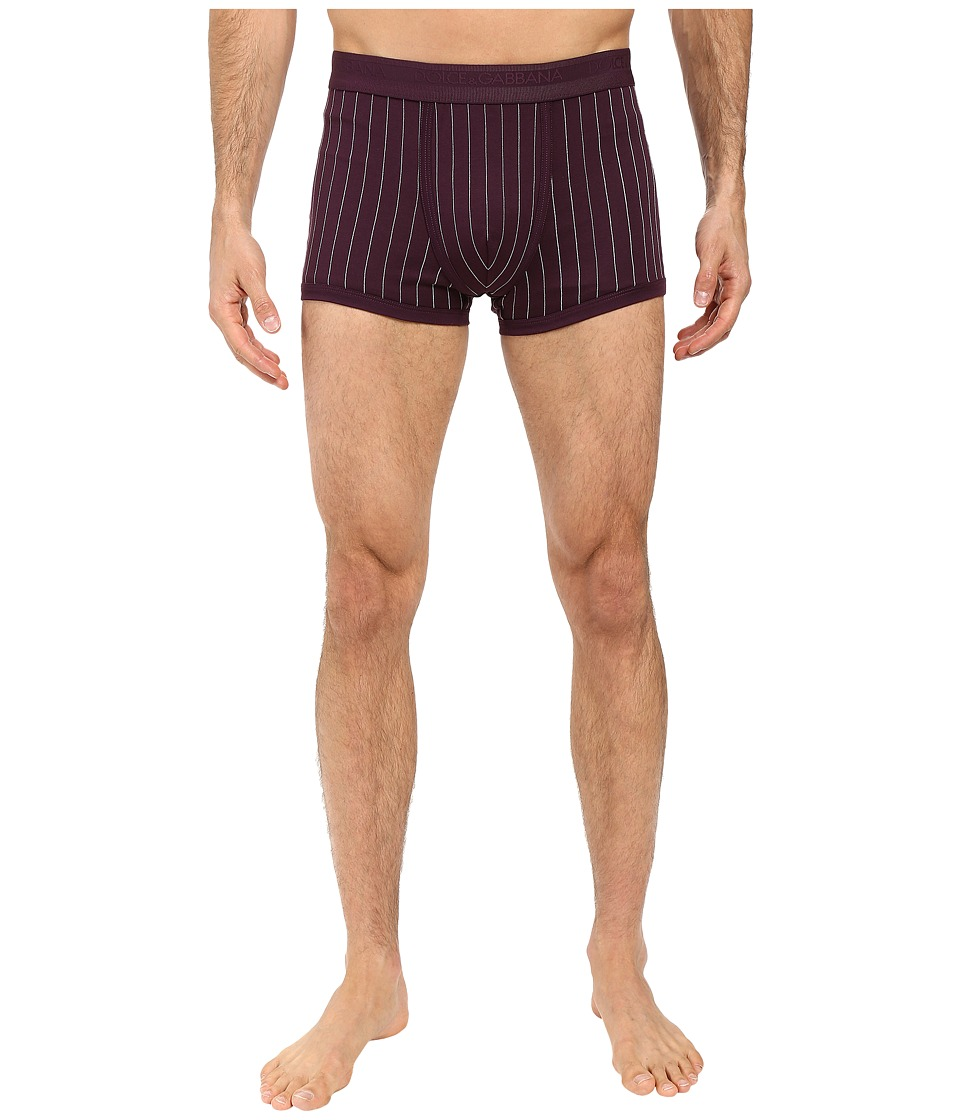 Dolce & Gabbana - Lisle Yarn Scottish Fibres Pinstripes Regular Boxer (Burgundy) Men's Underwear