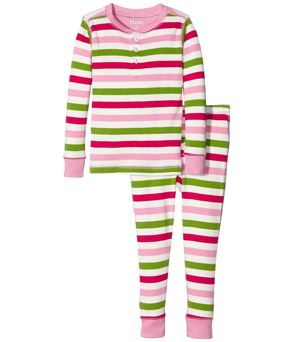 Hatley Kids - Holiday Stripe Henley Pajamas (Toddler/Little Kids/Big Kids) (Pink) Girl's Pajama Sets