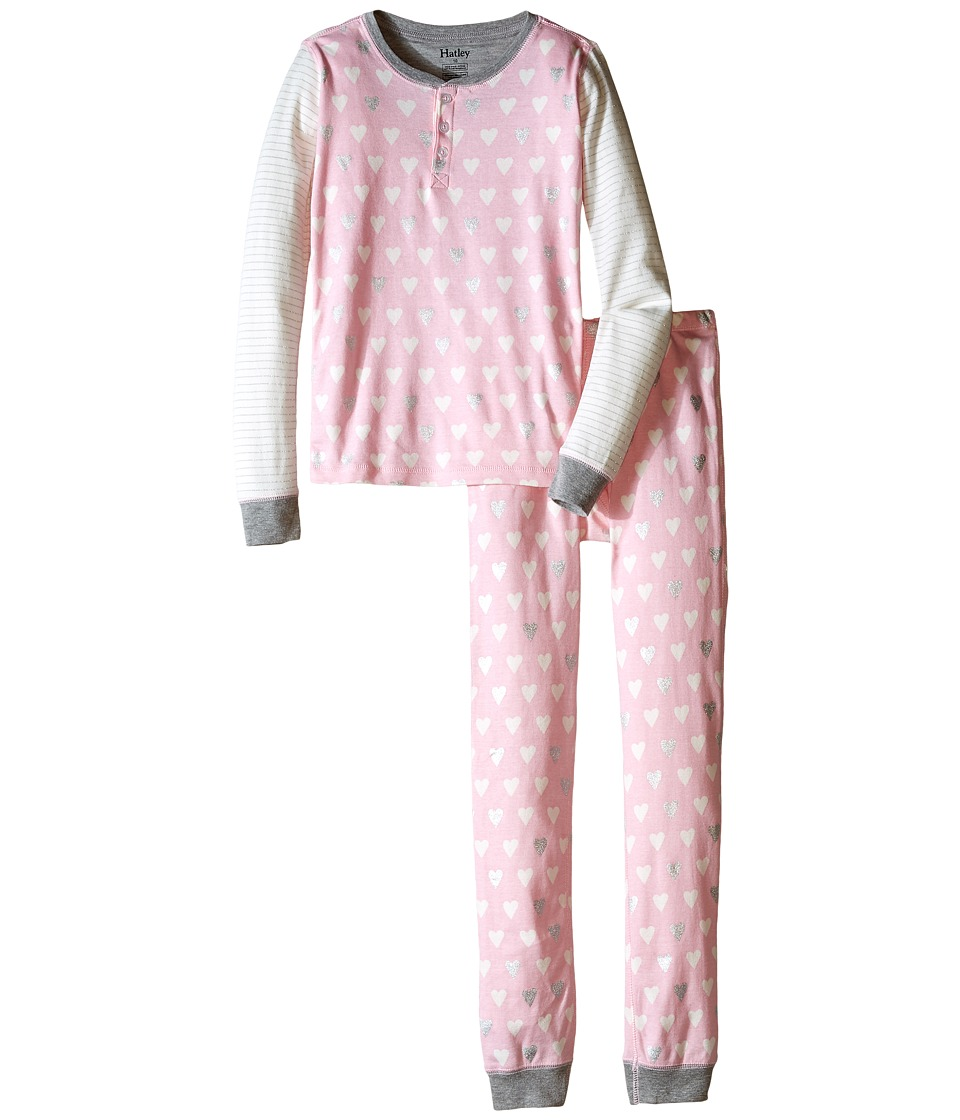 Hatley Kids - Metallic Hearts Henley Pajama Set (Toddler/Little Kids/Big Kids) (Pink) Girl's Pajama Sets