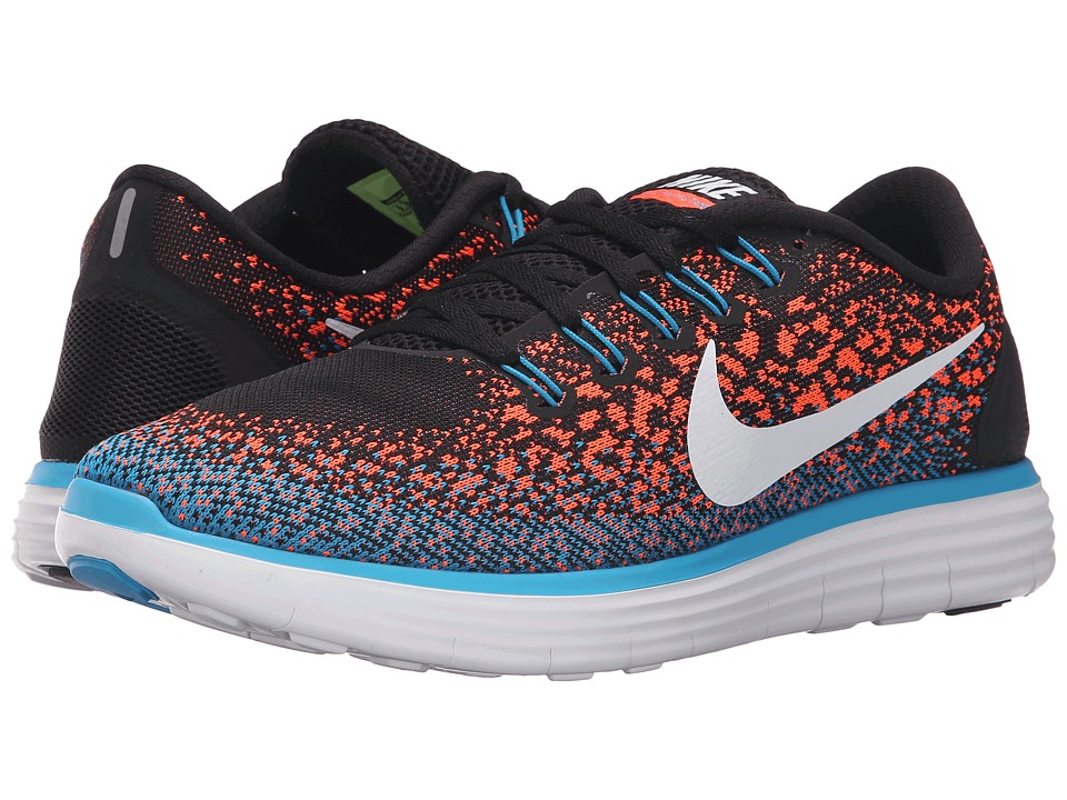 Nike - Free Run Distance (Black/Hyper Orange/Blue Lagoon/White) Men's Shoes
