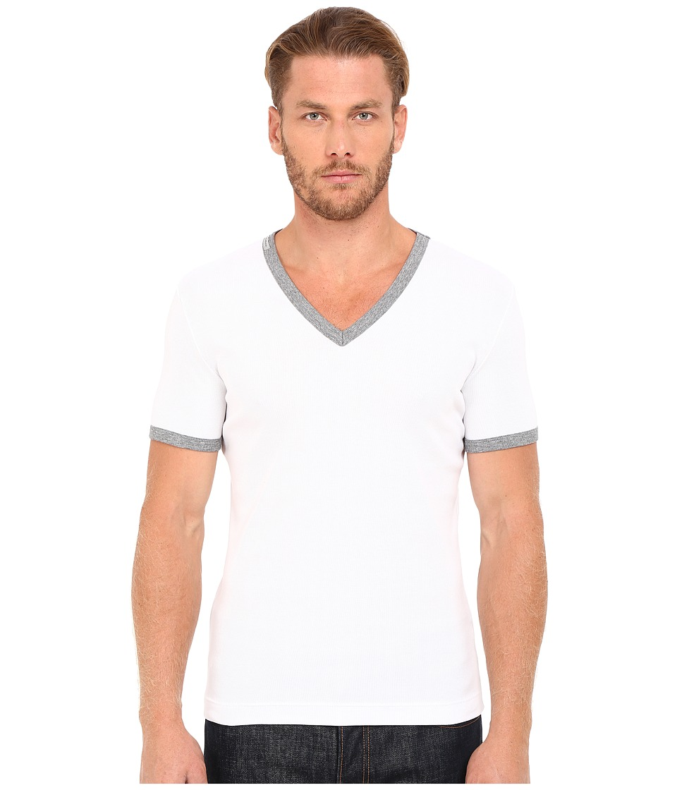 Dolce & Gabbana - Stretch Ribbed Cotton V-Neck (White) Men's Clothing