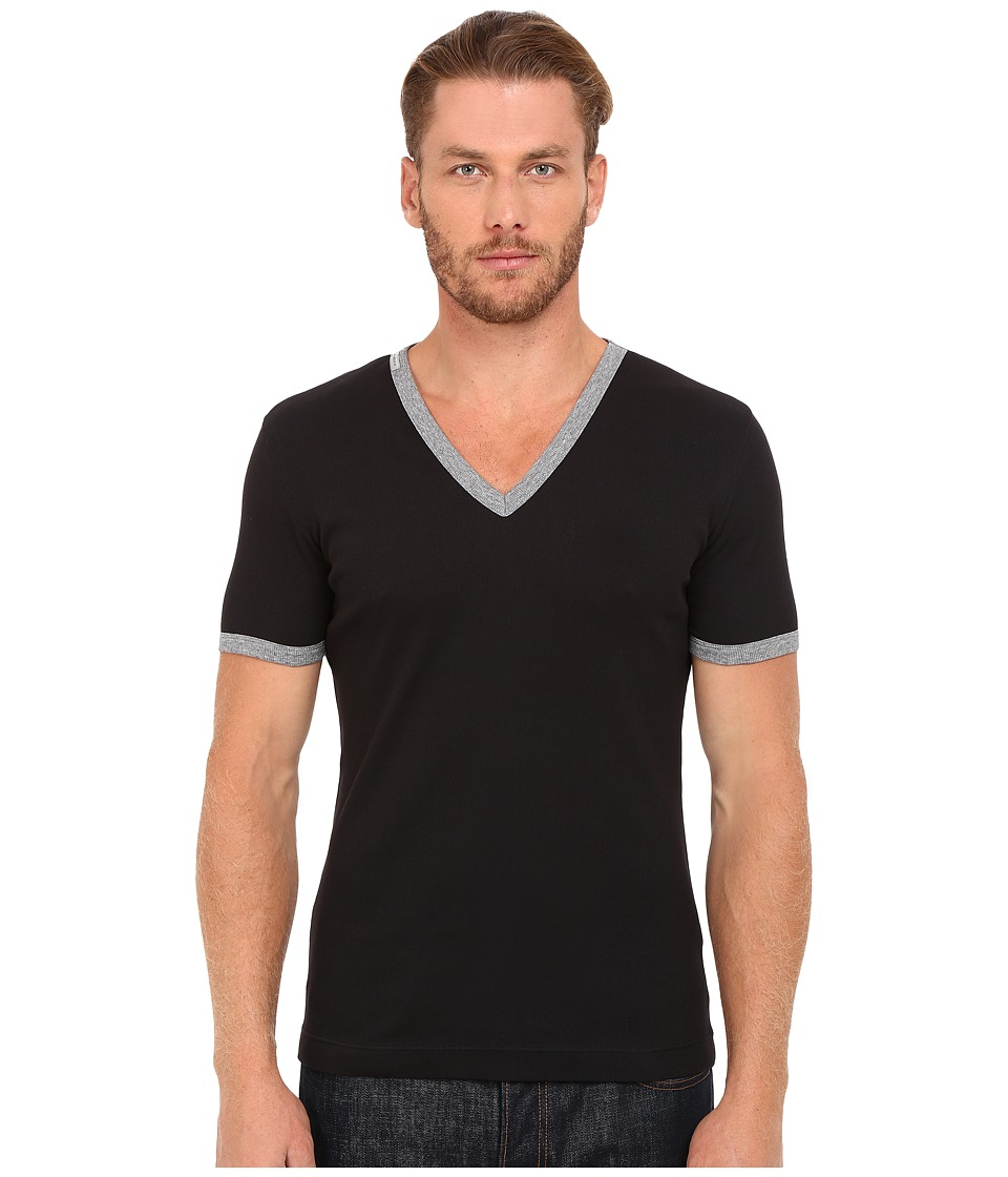 Dolce & Gabbana - Stretch Ribbed Cotton V-Neck (Black) Men's Clothing
