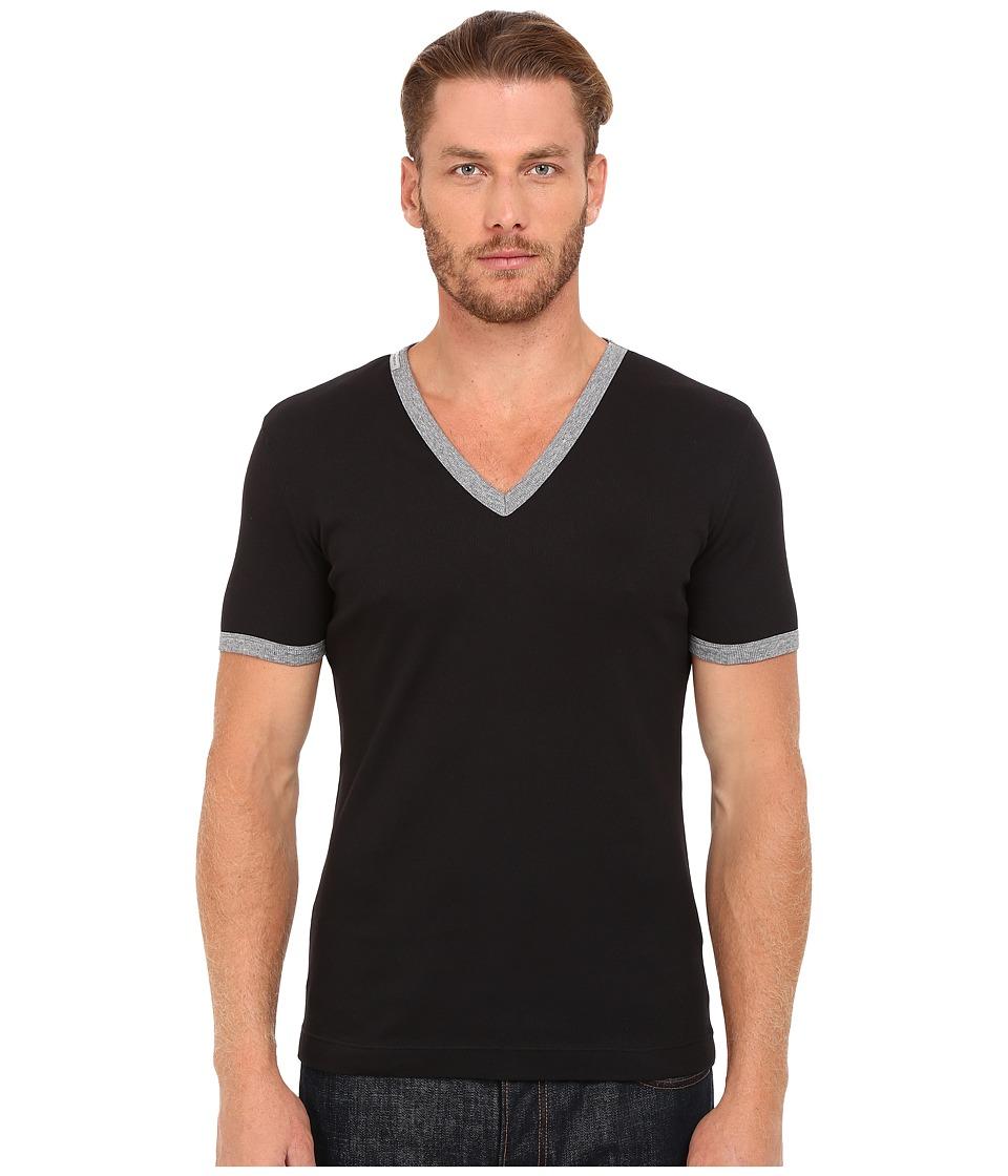 Dolce & Gabbana - Stretch Ribbed Cotton V-Neck (Black) Men's Clothing