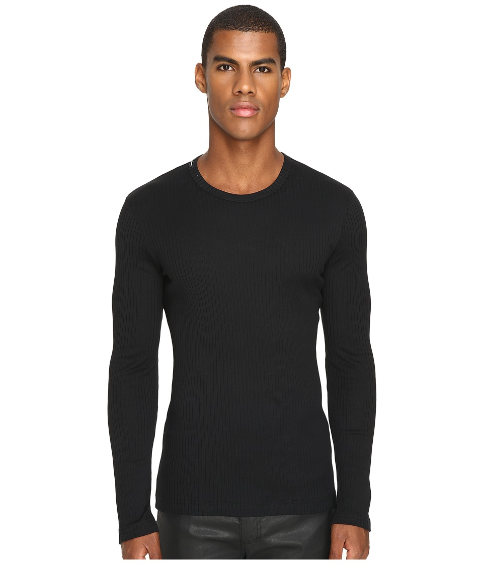 Dolce & Gabbana - Ribbed Cotton R-Neck Long Sleeves (Black) Men's Clothing