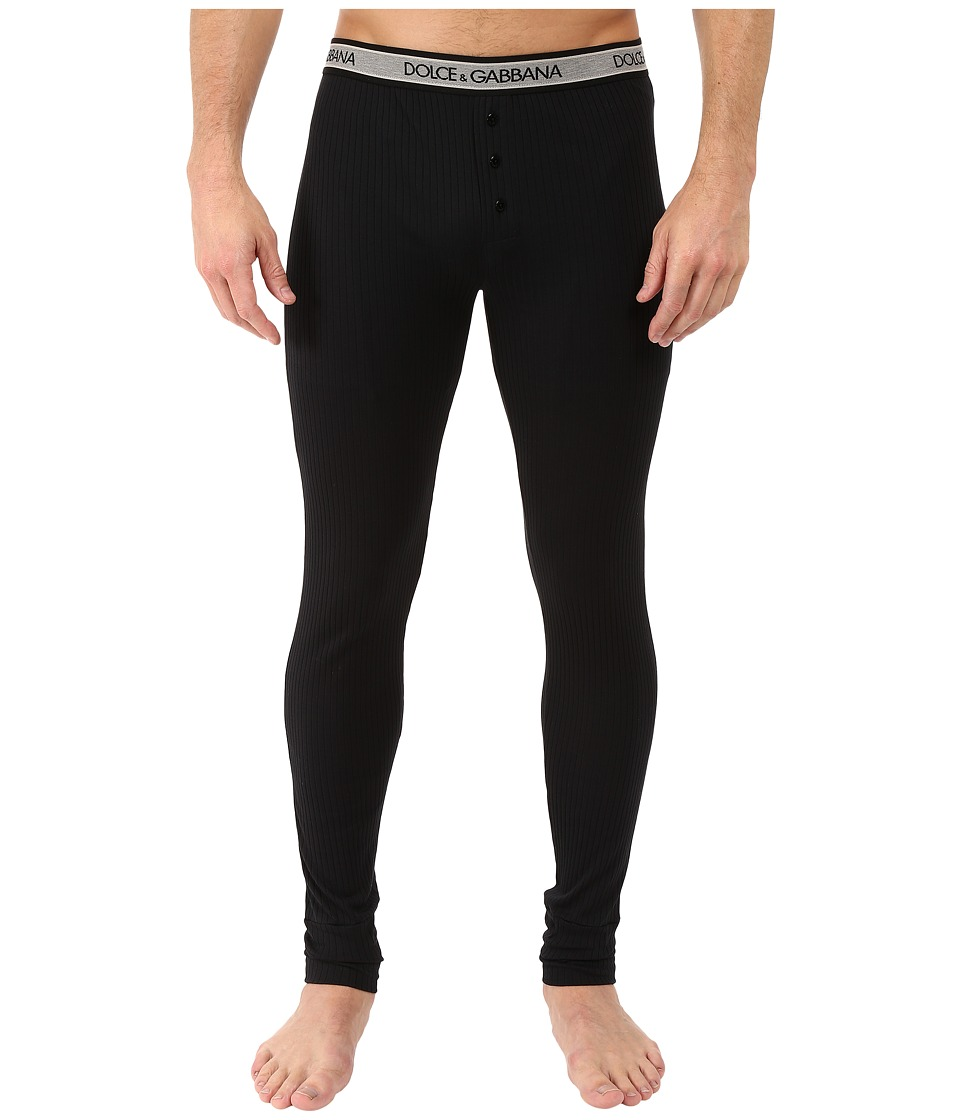 Dolce & Gabbana - Ribbed Cotton Leggings (Black) Men's Casual Pants