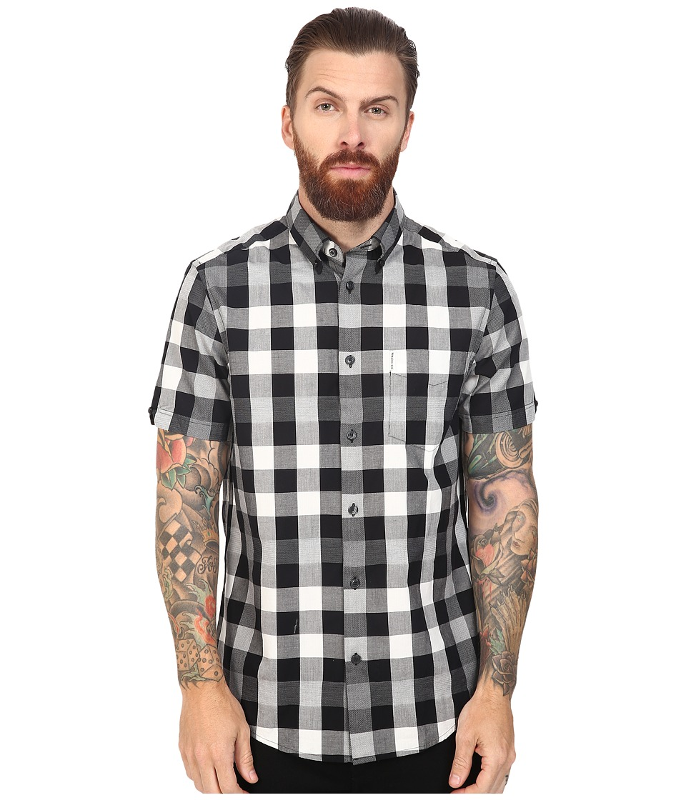 Ben Sherman - Short Sleeve Oversized Mixed Gingham Woven (Jet Black) Men's Short Sleeve Button Up