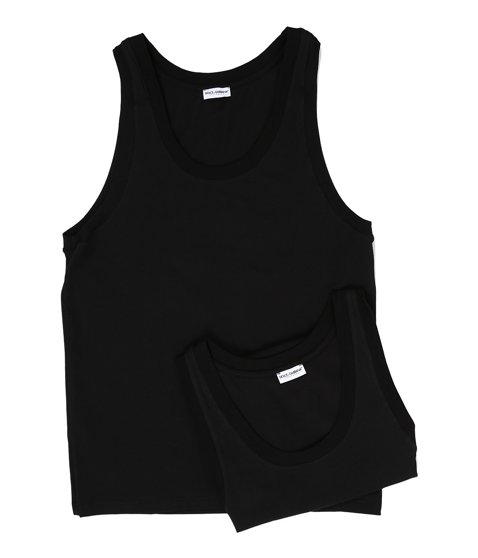 Dolce & Gabbana - Day By Day Bi Pack Tank Top 2-Pack (Black) Men's Sleeveless