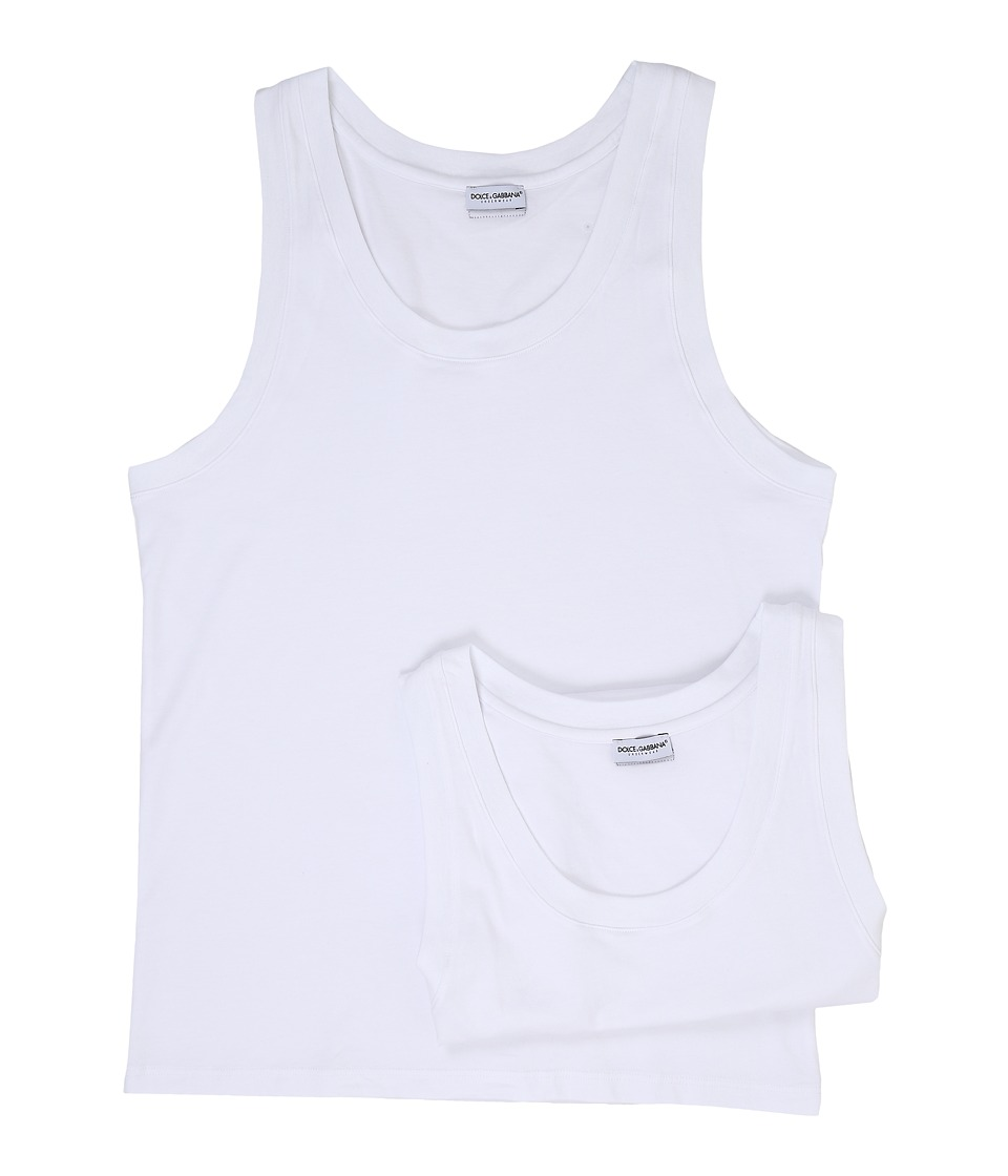 Dolce & Gabbana - Day By Day Bi Pack Tank Top 2-Pack (White) Men's Sleeveless