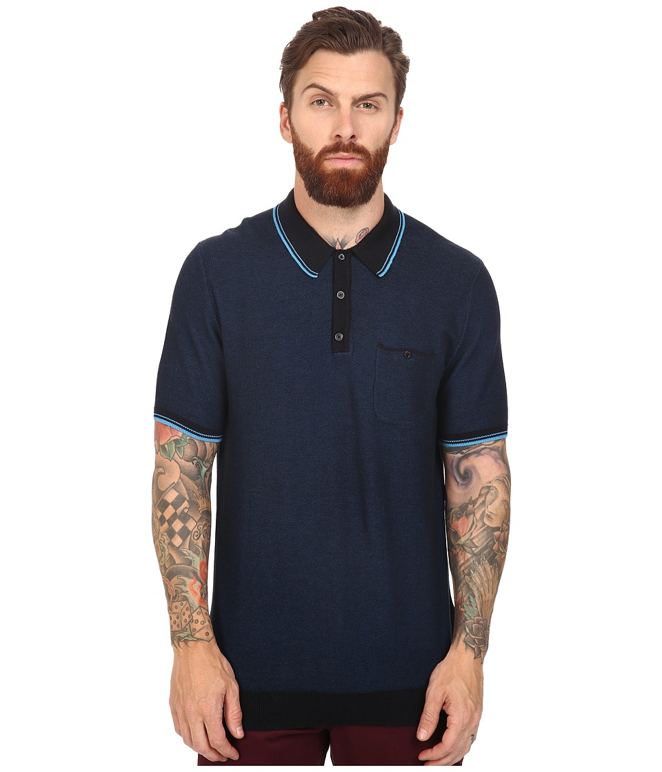 Ben Sherman - Short Sleeve Texture Micro Jacquard Polo (Canal Blue) Men's Clothing