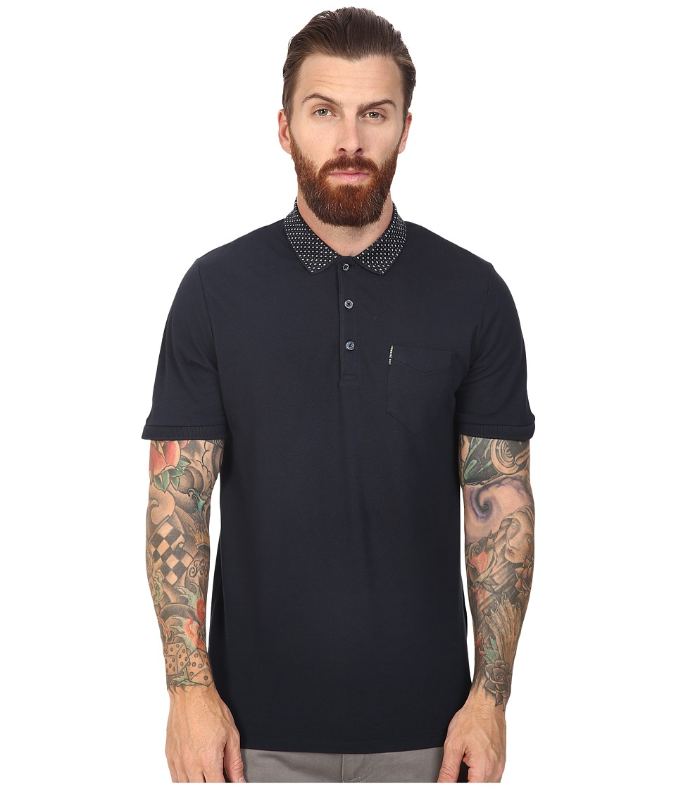 Ben Sherman - Short Sleeve Micro Paisley Print Collar Polo (Staples Navy) Men's Clothing