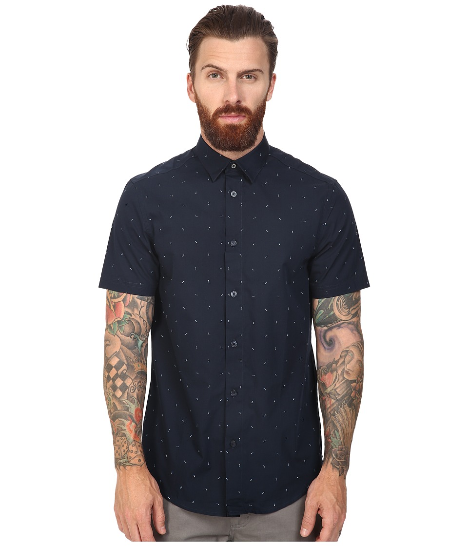 Ben Sherman - Short Sleeve Double Triangle Print Woven (Staples Navy) Men's Short Sleeve Button Up