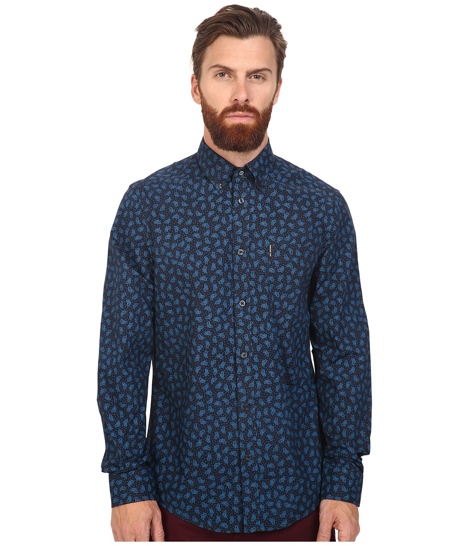 Ben Sherman - Long Sleeve Classic Paisley Print Woven (Vivid Blue) Men's Clothing