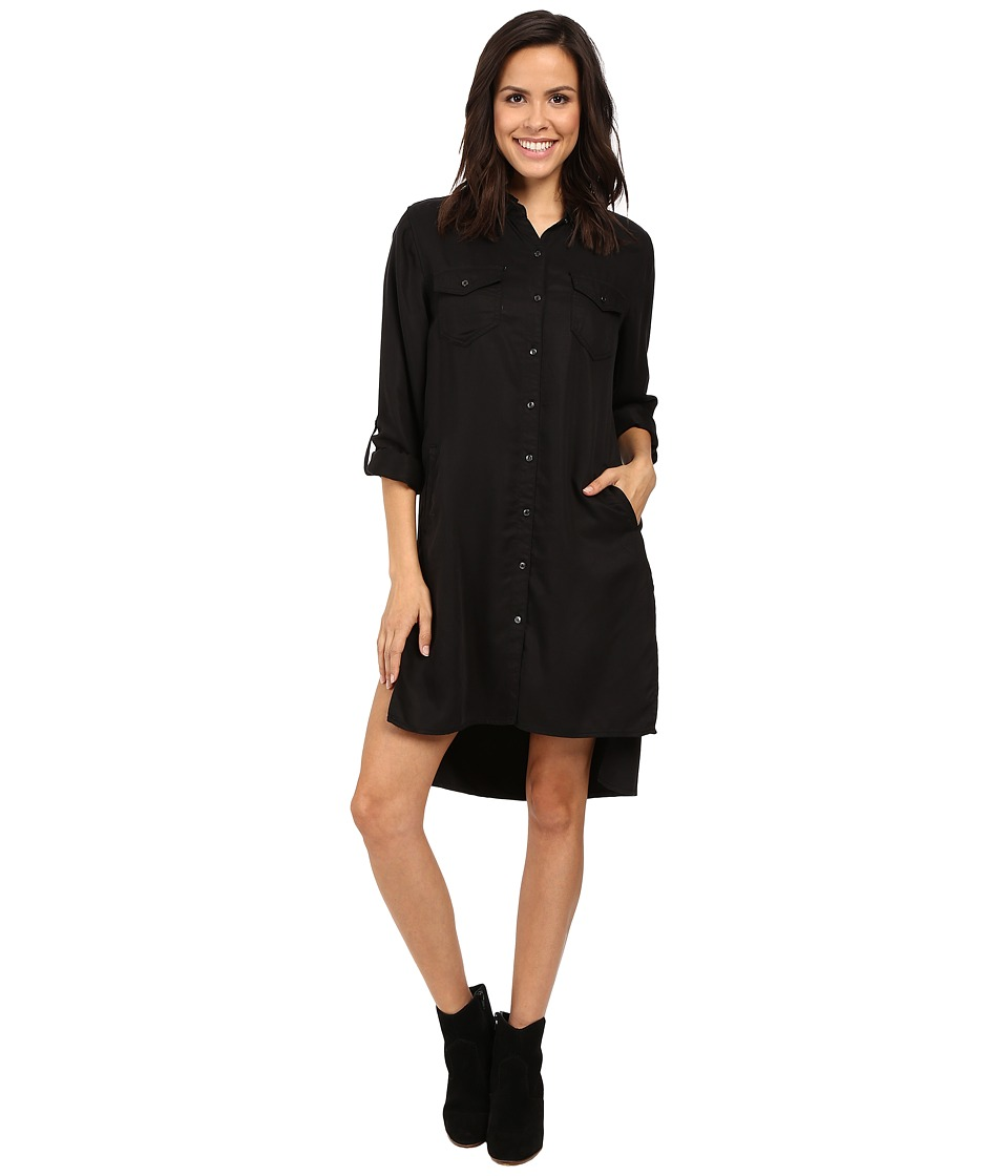 Blank NYC - Long Black Button Down Dress Shirt in Night Life (Night Life) Women's Dress