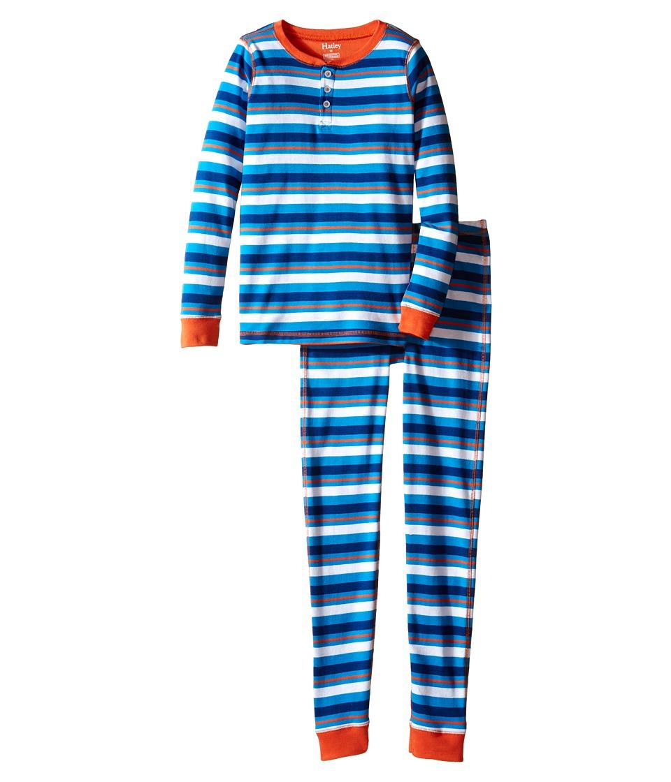 Hatley Kids - Blue Orange Stripe Henley Pajama (Toddler/Little Kids/Big Kids) (Blue) Boy's Pajama Sets