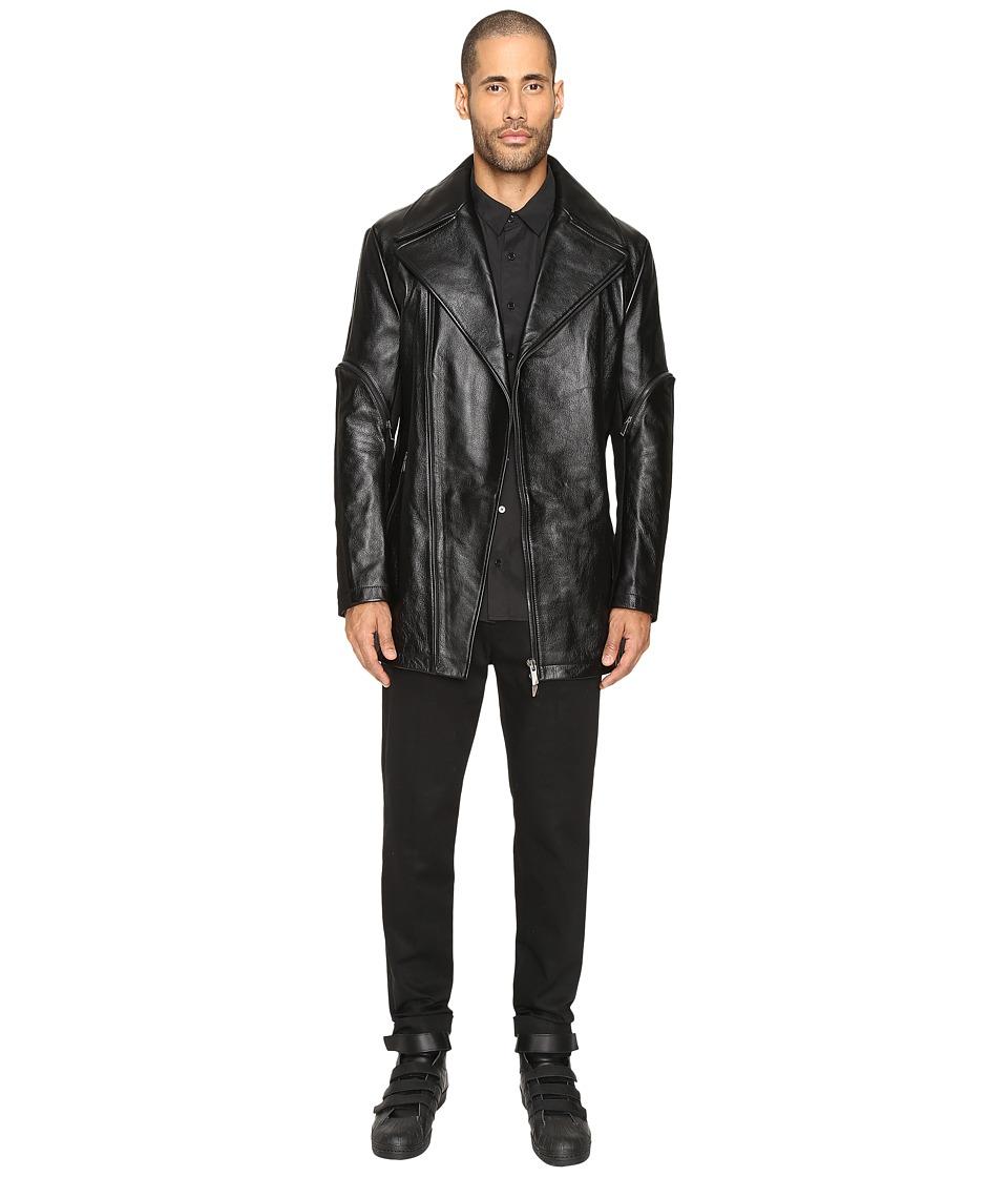 D.GNAK - Zip Sleeve Leather Jacket (Black) Men's Coat