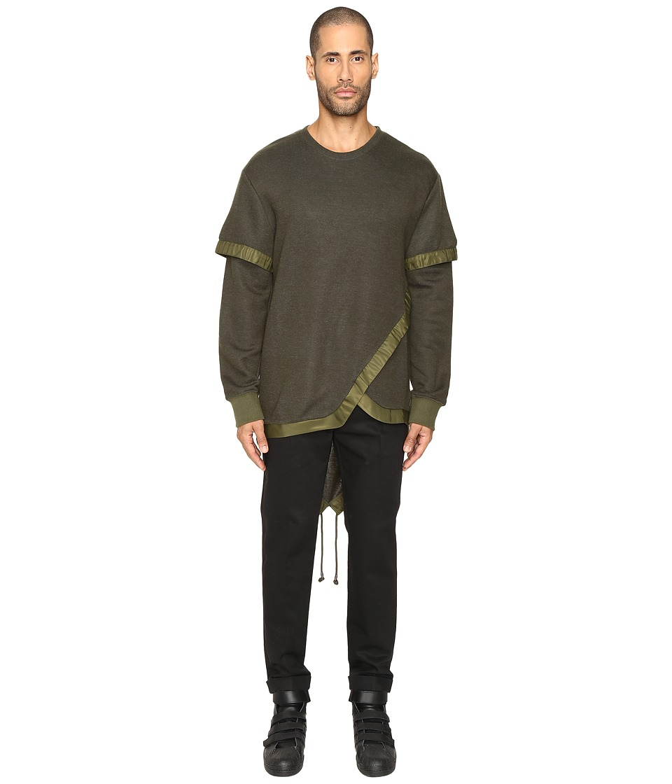 D.GNAK - Layered Fish Tail Pullover (Khaki) Men's Sweatshirt