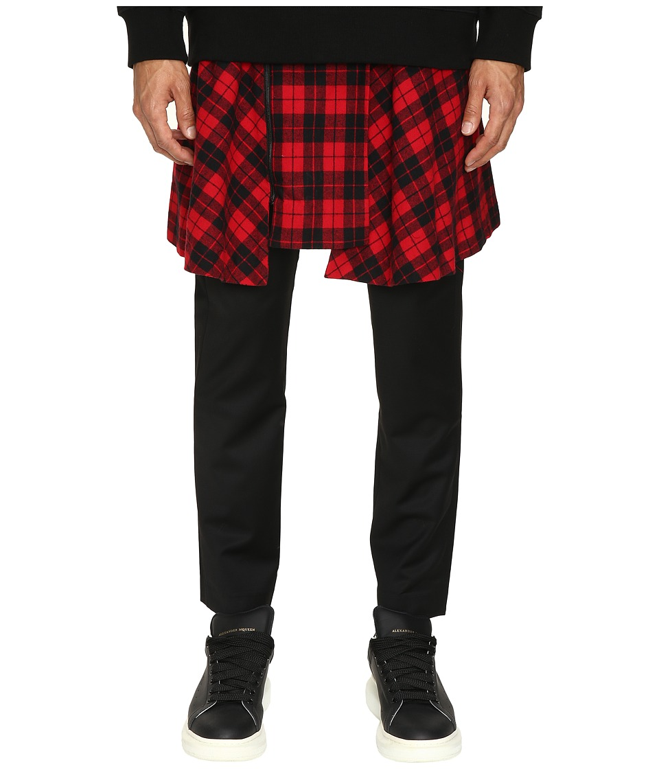 D.GNAK - Pants with Detachable Wrap Check Skirt (Black/Red) Men's Casual Pants
