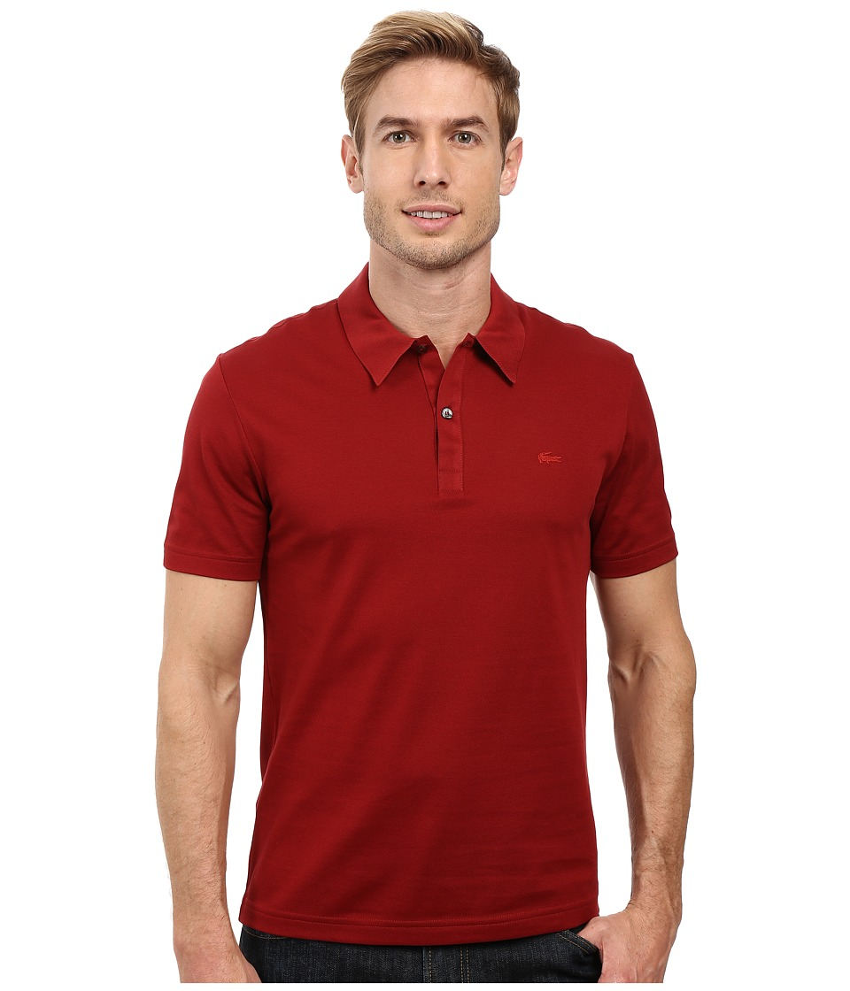Lacoste - Short Sleeve Mercerized Pique Polo w/ Tonal Embroid Croc (Passion) Men's Short Sleeve Pullover