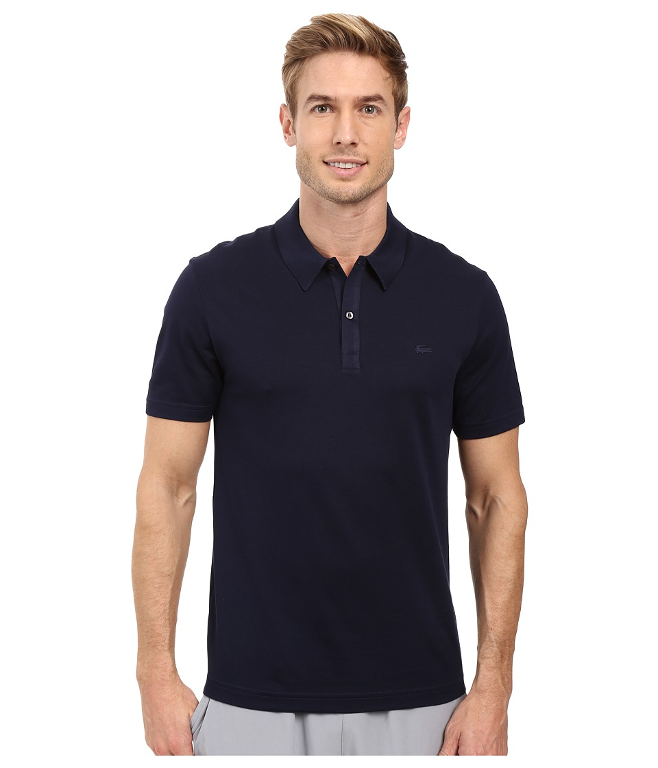 Lacoste - Short Sleeve Mercerized Pique Polo w/ Tonal Embroid Croc (Navy Blue) Men's Short Sleeve Pullover