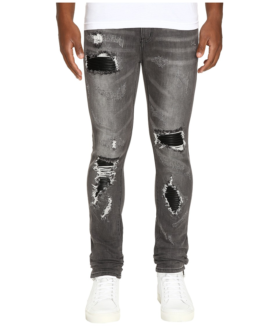 God's Masterful Children - Amadeo Ripped Leather Jeans (Grey) Men's Jeans