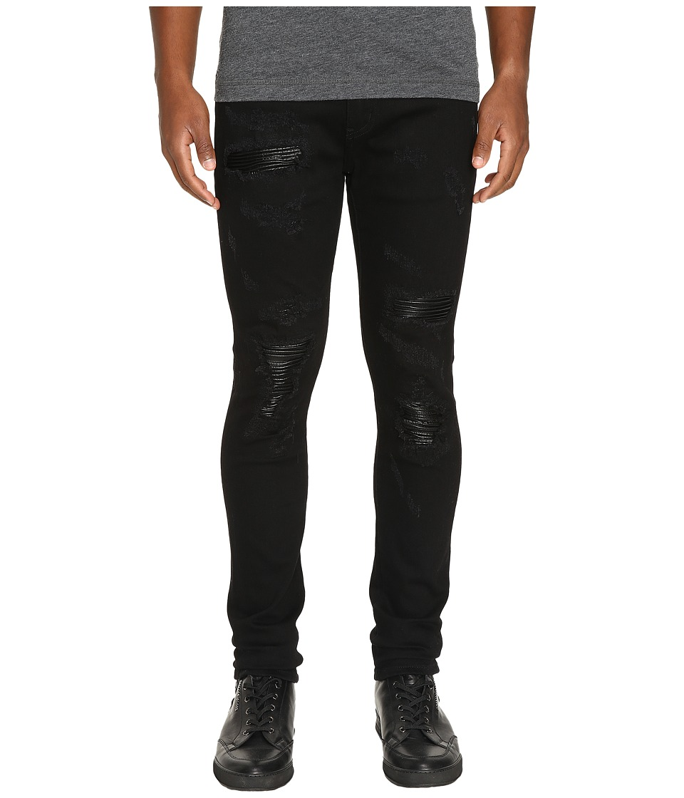 God's Masterful Children - Amadeo Ripped Leather Jeans (Black) Men's Jeans