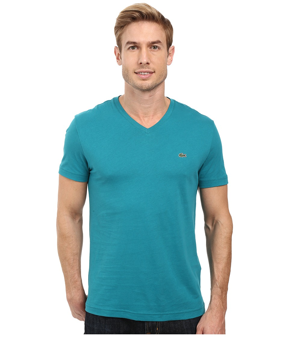 Lacoste - Short Sleeve V-Neck Pima Jersey Tee Shirt (Emerald) Men's T Shirt